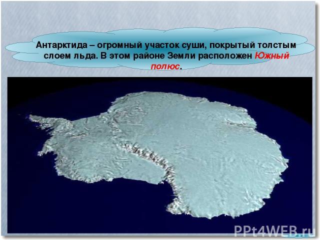 Антарктида – огромный участок суши, покрытый толстым слоем льда. В этом районе Земли расположен Южный полюс.