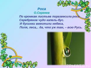 Роса О.Сергеев По кромкам листьев поразвесила роса Серебряное чудо капель-бус. И