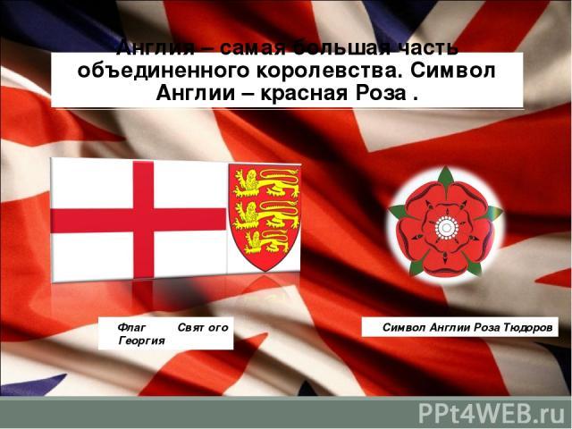 Англия – самая большая часть объединенного королевства. Символ Англии – красная Роза . Флаг Святого Георгия Символ Англии Роза Тюдоров