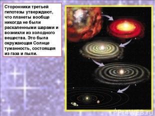 Сторонники третьей гипотезы утверждают, что планеты вообще никогда не были раска
