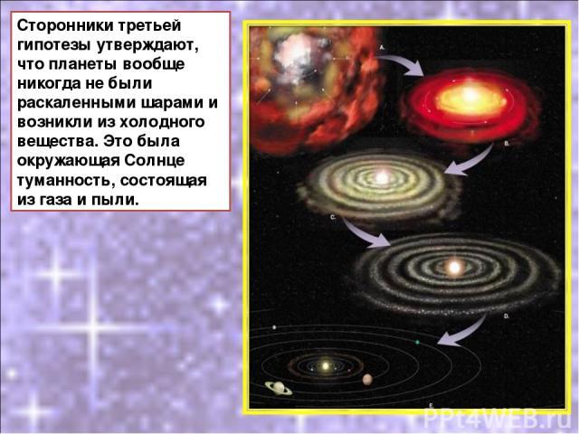 Сторонники третьей гипотезы утверждают, что планеты вообще никогда не были раскаленными шарами и возникли из холодного вещества. Это была окружающая Солнце туманность, состоящая из газа и пыли.