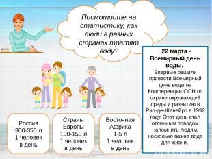 Россия 300-350 л 1 человек в день Страны Европы 100-150 л 1 человек в день Восто