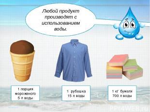 1 порция мороженого 5 л воды 1 рубашка 15 л воды 1 кг бумаги 700 л воды Любой пр