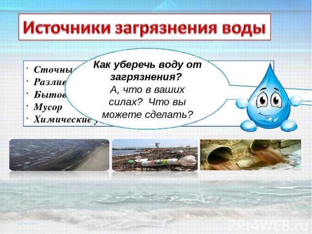 Сточные воды Разлив нефти Бытовые отходы Мусор Химические удобрения Как происходит загрязнение воды? Как уберечь воду от загрязнения? А, что в ваших силах? Что вы можете сделать?