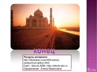 Ресурсы интернета: http://lifestripes.ru/world/8-samyx-neobychnyx-gribov.html Cа