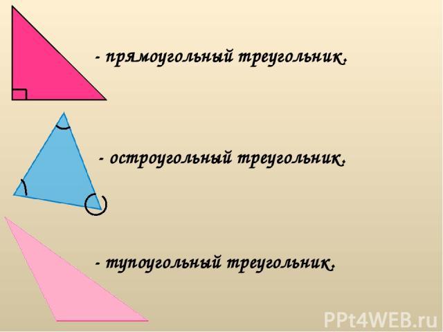 - прямоугольный треугольник. - остроугольный треугольник. - тупоугольный треугольник.