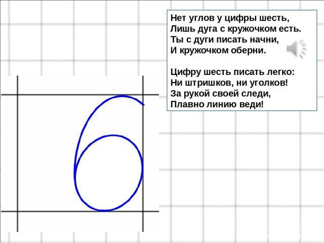 Нет углов у цифры шесть, Лишь дуга с кружочком есть. Ты с дуги писать начни, И кружочком оберни. Цифру шесть писать легко: Ни штришков, ни уголков! За рукой своей следи, Плавно линию веди!