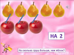 На сколько груш больше, чем яблок?