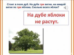 Стоит в поле дуб. На дубе три ветки, на каждой ветке по три яблока. Сколько всег