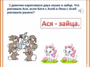 3 девочки нарисовали двух кошек и зайца. Что рисовала Ася, если Катя с Асей и Ле
