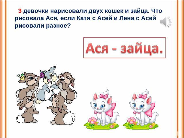3 девочки нарисовали двух кошек и зайца. Что рисовала Ася, если Катя с Асей и Лена с Асей рисовали разное?