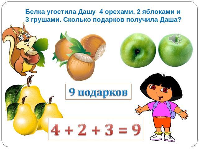 Белка угостила Дашу 4 орехами, 2 яблоками и 3 грушами. Сколько подарков получила Даша?