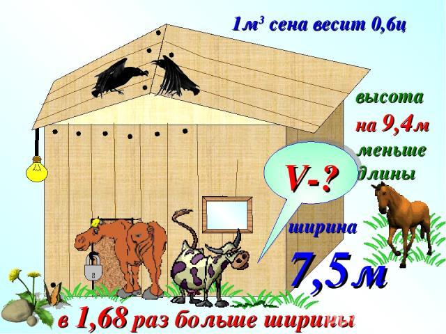 1м3 сена весит 0,6ц ширина 7,5м в 1,68 раз больше ширины высота на 9,4м меньше длины V-?