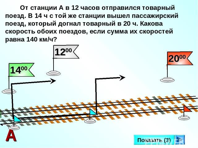 От станции А в 12 часов отправился товарный поезд. В 14 ч с той же станции вышел пассажирский поезд, который догнал товарный в 20 ч. Какова скорость обоих поездов, если сумма их скоростей равна 140 км/ч? А Показать (3)