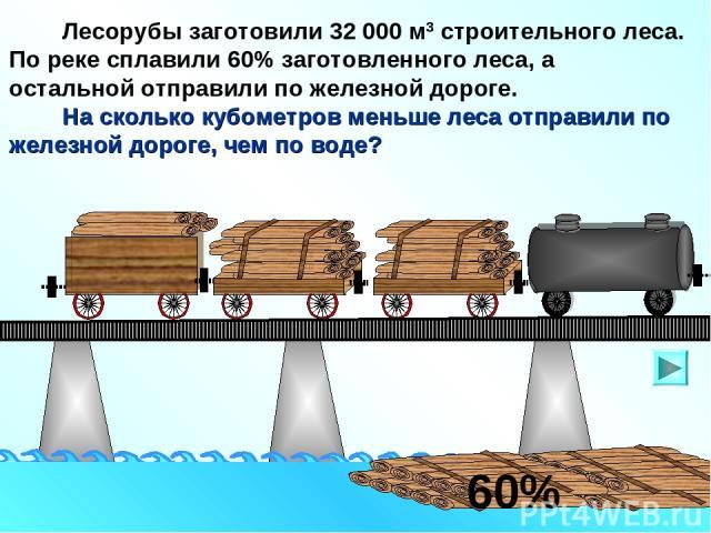 Лесорубы заготовили 32 000 м3 строительного леса. По реке сплавили 60% заготовленного леса, а остальной отправили по железной дороге. На сколько кубометров меньше леса отправили по железной дороге, чем по воде? 60%