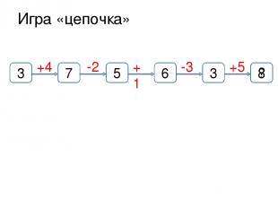 Игра «цепочка» +4 3 +1 +5 -3 -2 7 8 3 6 5 ?