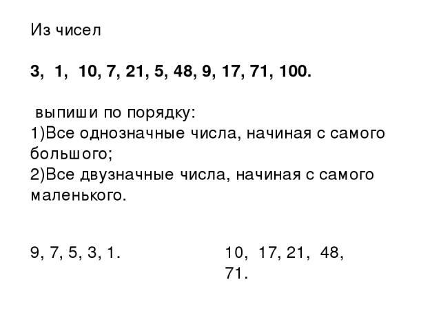 Из чисел 3, 1, 10, 7, 21, 5, 48, 9, 17, 71, 100. выпиши по порядку: Все однозначные числа, начиная с самого большого; Все двузначные числа, начиная с самого маленького. 9, 7, 5, 3, 1. 10, 17, 21, 48, 71.