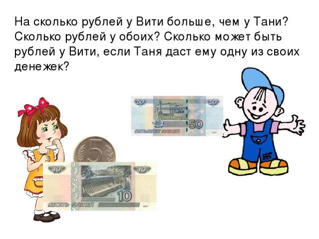 На сколько рублей у Вити больше, чем у Тани? Сколько рублей у обоих? Сколько может быть рублей у Вити, если Таня даст ему одну из своих денежек?