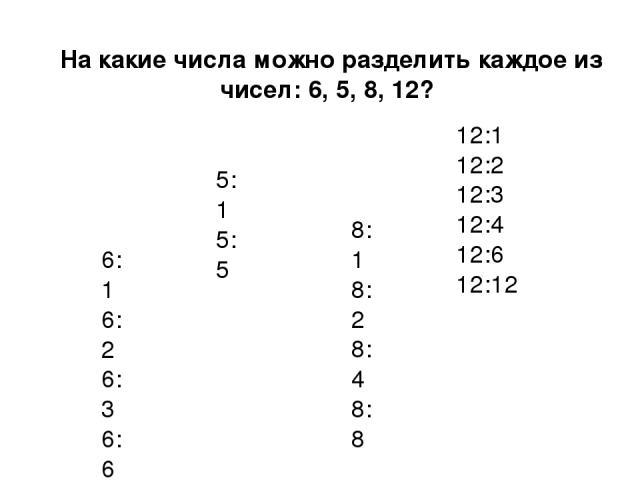 На какие числа можно разделить каждое из чисел: 6, 5, 8, 12? 6:1 6:2 6:3 6:6 5:1 5:5 8:1 8:2 8:4 8:8 12:1 12:2 12:3 12:4 12:6 12:12