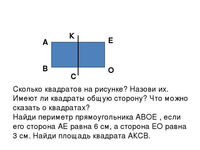В А К С Е О Сколько квадратов на рисунке? Назови их. Имеют ли квадраты общую сторону? Что можно сказать о квадратах? Найди периметр прямоугольника АВОЕ , если его сторона АЕ равна 6 см, а сторона ЕО равна 3 см. Найди площадь квадрата АКСВ.
