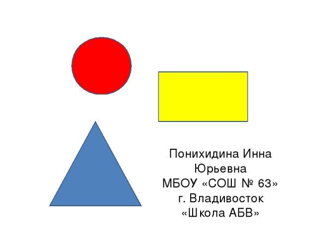 Понихидина Инна Юрьевна МБОУ «СОШ № 63» г. Владивосток «Школа АБВ»