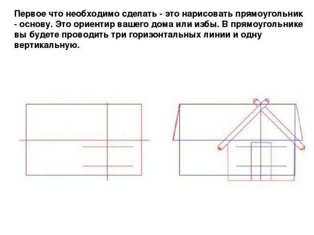 Первое что необходимо сделать - это нарисовать прямоугольник - основу. Это ориентир вашего дома или избы. В прямоугольнике вы будете проводить три горизонтальных линии и одну вертикальную.