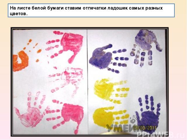На листе белой бумаги ставим отпечатки ладошек самых разных цветов.