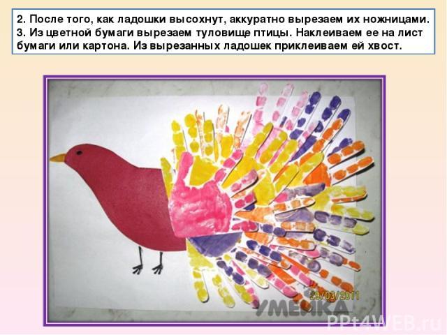 2. После того, как ладошки высохнут, аккуратно вырезаем их ножницами. 3. Из цветной бумаги вырезаем туловище птицы. Наклеиваем ее на лист бумаги или картона. Из вырезанных ладошек приклеиваем ей хвост.