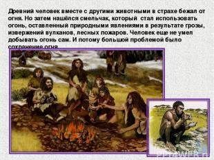 Древний человек вместе с другими животными в страхе бежал от огня. Но затем нашё