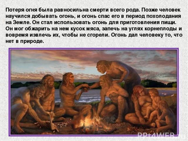 Потеря огня была равносильна смерти всего рода. Позже человек научился добывать огонь, и огонь спас его в период похолодания на Земле. Он стал использовать огонь для приготовления пищи. Он мог обжарить на нем кусок мяса, запечь на углях корнеплоды и…
