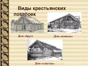 Виды крестьянских построек Дом «брус» Дом «кошель» Дом «глаголь»