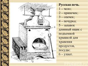 Русская печь. 1 – чело; 2 – припечек; 3 – опечек; 4 – печурка; 5 – залавок длинн