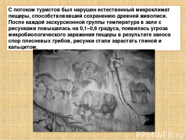 С потоком туристов был нарушен естественный микроклимат пещеры, способствовавший сохранению древней живописи. После каждой экскурсионной группы температура в зале с рисунками повышалась на 0,1–0,6 градуса, появилась угроза микробиологического зараже…