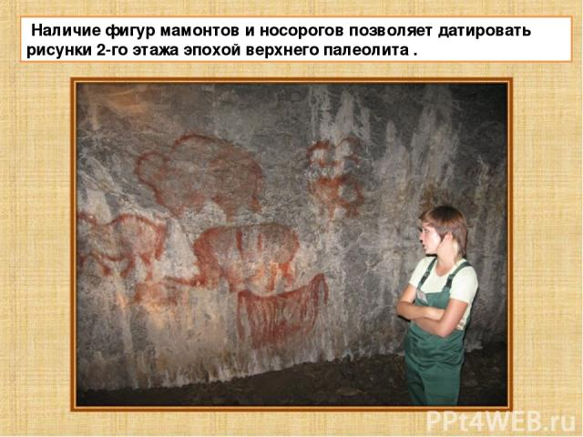 Наличие фигур мамонтов и носорогов позволяет датировать рисунки 2-го этажа эпохой верхнего палеолита .