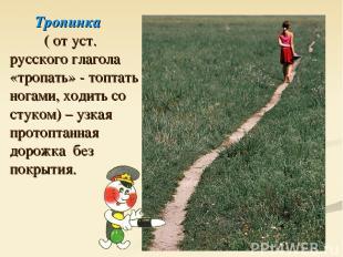Тропинка ( от уст. русского глагола «тропать» - топтать ногами, ходить со стуком