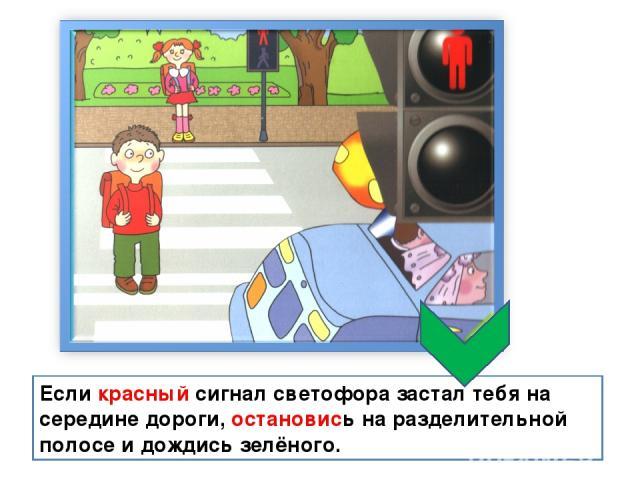 Если красный сигнал светофора застал тебя на середине дороги, остановись на разделительной полосе и дождись зелёного.