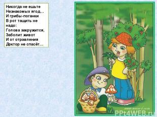 Никогда не ешьте Незнакомых ягод… И грибы-поганки В рот тащить не надо: Голова з