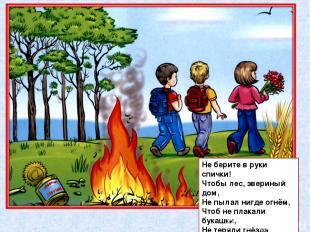 Не берите в руки спички! Чтобы лес, звериный дом, Не пылал нигде огнём, Чтоб не
