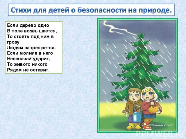 Если дерево одно В поле возвышается, То стоять под ним в грозу Людям запрещается. Если молния в него Невзначай ударит, То живого никого Рядом не оставит.
