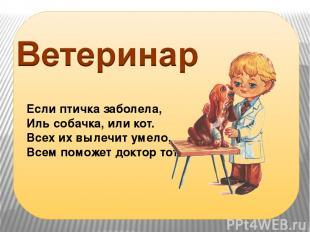 Если птичка заболела, Иль собачка, или кот. Всех их вылечит умело, Всем поможет