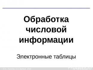 Обработка числовой информации Электронные таблицы К.Ю. Поляков, Е.А. Ерёмин, 201