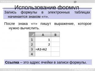 Использование формул Запись формулы в электронных таблицах начинается знаком «=»