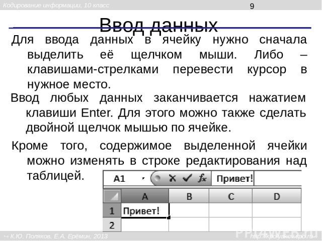 Ввод данных Для ввода данных в ячейку нужно сначала выделить её щелчком мыши. Либо – клавишами-стрелками перевести курсор в нужное место. Ввод любых данных заканчивается нажатием клавиши Enter. Для этого можно также сделать двойной щелчок мышью по я…