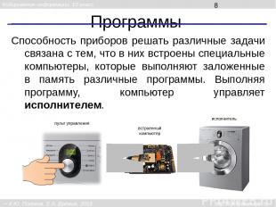 Программы Способность приборов решать различные задачи связана с тем, что в них
