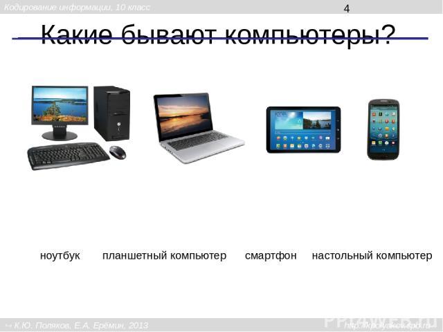 Какие бывают компьютеры? настольный компьютер смартфон ноутбук планшетный компьютер Кодирование информации, 10 класс К.Ю. Поляков, Е.А. Ерёмин, 2013 http://kpolyakov.spb.ru