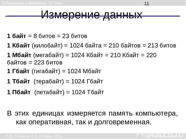 Измерение данных 1 байт = 8 битов = 23 битов 1 Кбайт (килобайт) = 1024 байта = 210 байтов = 213 битов 1 Гбайт (гигабайт) = 1024 Мбайт 1 Мбайт (мегабайт) = 1024 Кбайт = 210 Кбайт = 220 байтов = 223 битов 1 Тбайт (терабайт) = 1024 Гбайт 1 Пбайт (петаб…