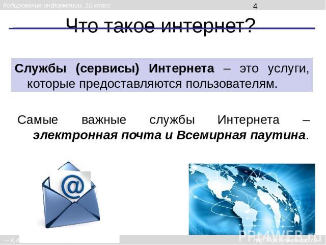 Что такое интернет? Службы (сервисы) Интернета – это услуги, которые предоставляются пользователям. Самые важные службы Интернета – электронная почта и Всемирная паутина. Кодирование информации, 10 класс К.Ю. Поляков, Е.А. Ерёмин, 2013 http://kpolya…
