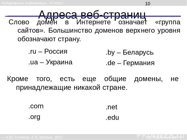 Адреса веб-страниц .ru – Россия Слово домен в Интернете означает «группа сайтов». Большинство доменов верхнего уровня обозначают страну. .ua– Украина .by – Беларусь .de – Германия Кроме того, есть еще общие домены, не принадлежащие никакой стране. …