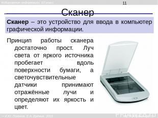 Сканер Сканер – это устройство для ввода в компьютер графической информации. При
