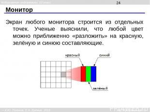 Монитор Экран любого монитора строится из отдельных точек. Ученые выяснили, что